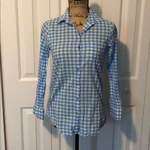 J Crew Blue/White Plaid Button Up Shirt